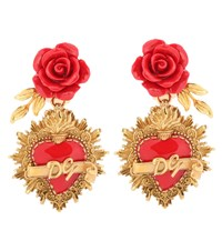 Dolce And Gabbana Rose Clip On Earrings Gold