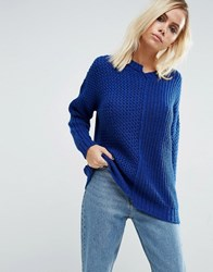 Asos Jumper With Reconstructed Detail Cobalt Blue Multi