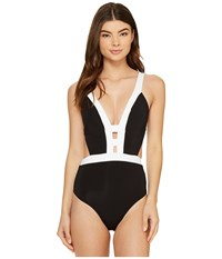 Jets By Jessika Allen Classique Plunge One Piece Black White Women's Swimsuits One Piece