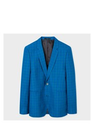 Paul Smith Men's Slim Fit Turquoise Check Wool Linen And Silk Blend Blazer Blue