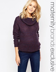 Mama Licious Mamalicious Cable Knit Roll Neck Jumper Fudge