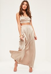 Missguided Petite Exclusive Beige Satin Maxi Skirt