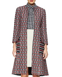 Oscar De La Renta Checked Tweed Long Coat Red Multi
