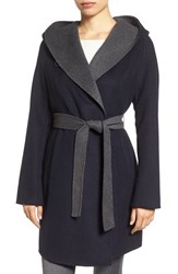Michael Michael Kors Women's Double Face Hooded Wrap Coat Dark Navy