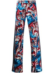 Valentino Tiger Print Straight Trousers Blue
