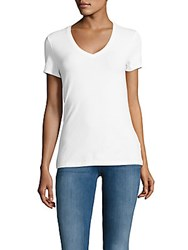 Saks Fifth Avenue Black V Neck Solid Tee White