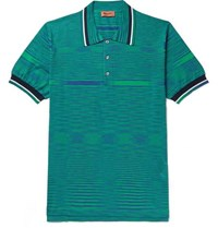 Missoni Space Dyed Knitted Cotton Polo Shirt Green