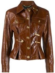 Versace Safety Pin Buttoned Leather Jacket Brown