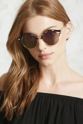 Forever 21 Tinted Round Sunglasses Gold Purple