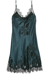 Carine Gilson Chantilly Lace Trimmed Silk Satin Chemise