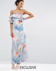 Every Cloud Etched Floral Frill Bandeau Maxi Dress Multi Print