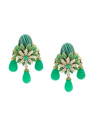 Rewind Vintage Affairs Floral Clip On Earrings Green