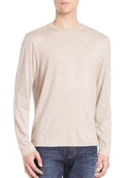 Saks Fifth Avenue Crewneck Long Sleeve Tee Bordeaux Tan