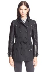 Burberry Brit 'Bransdale' Leather Sleeve Trench Coat Black