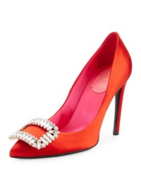 Roger Vivier Sexy Choc Crystal Buckle Pump Red Women's