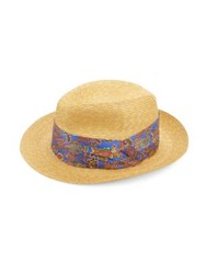 Etro Paisley Print Straw Hat Light Blue