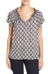 Women's Caslon Cuffed Sleeve Peasant Top Black Ivory Print