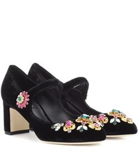 Dolce And Gabbana Crystal Embellished Mary Jane Pumps Black