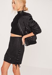 Missguided Perforated Faux Suede Lace Up Side Front Pocket Skirt Black Black