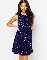 Brave Soul Skater Dress With Tie Up Front In Feather Print French Navy Combo