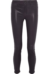 J Brand Leather Skinny Pants Purple