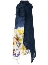 Forte Forte Fringed Knitted Cape Coat Blue
