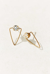 Diament Jewelry X Urban Renewal Crystal Wire Triangle Stud Earring White