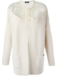 Twin Set Lace Panel Cardigan Nude And Neutrals