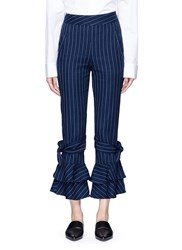 Nicholas Pinstripe Flare Cuff Cotton Pants Blue