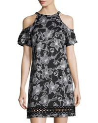 Julia Jordan Cold Shoulder Floral Print Scuba Dress Black White