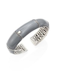 John Hardy Bamboo Small Enamel And Sterling Silver Kick Cuff Grey