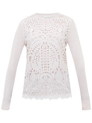 Ted Baker Anlise Geometric Lace Front Jumper Nude Pink