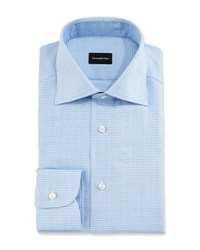Ermenegildo Zegna Textured Glen Plaid Dress Shirt Blue White