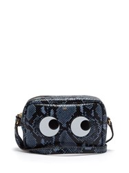 Anya Hindmarch Eyes Python Effect Leather Cross Body Bag Grey Multi