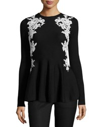 Oscar De La Renta Lace Trim Knit Peplum Sweater Black White Black Patterned