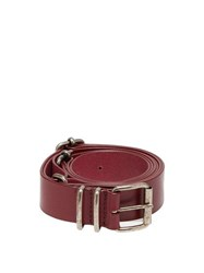 Ann Demeulemeester Kenya Multiple Buckle Leather Belt Burgundy
