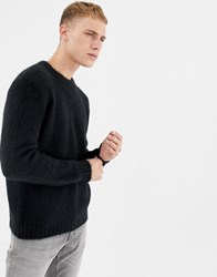 United Colors Of Benetton Crew Neck Jumper In Fluffy Yarn Black
