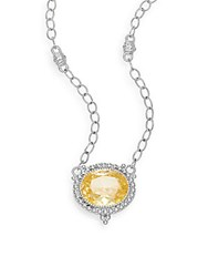 Judith Ripka La Petite Canary Crystal And Sterling Silver Pendant Necklace Silver Yellow