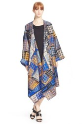 Tracy Reese Plaid Blanket Coat Black