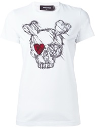 Dsquared2 Skull Print T Shirt White