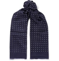 Begg And Co Wispy Fringed Polka Dot Cashmere Scarf Navy