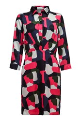 Almost Famous Abstract Shirt Dress Pink