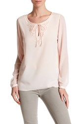 T Tahari Theora Beaded Blouse Pink