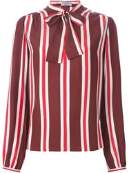 Frame Denim Pussy Bow Striped Blouse Red