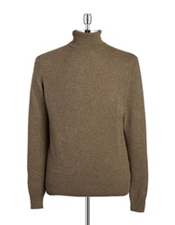 Black Brown Cashmere Turtleneck Boulder Heather