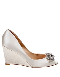 Badgley Mischka Dara Peep Toe Wedge Pumps Ivory