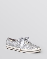 Keds For Kate Spade New York Lace Up Sneakers Glitter Silver