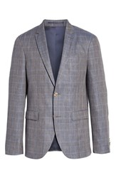 Sand Glenn Trim Fit Plaid Linen Blend Sport Coat Cognac
