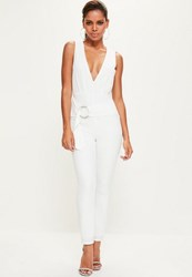 Missguided White Hoop Detail Plunge Sleeveless Jumpsuit