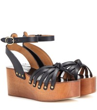 Isabel Marant Etoile Zia Leather Platform Sandals Black
